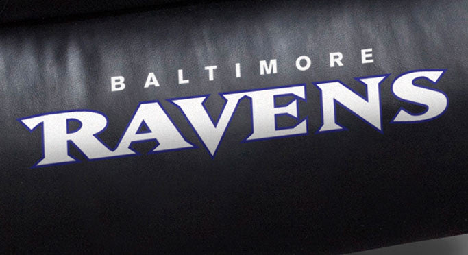Close Up of Embroidered Logotype | Baltimore Ravens Big Daddy Leather Recliner