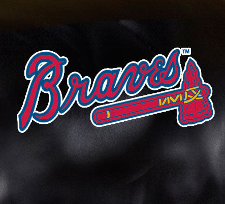 Close Up of Embroidered Logo | Atlanta Braves Big Daddy Leather Recliner