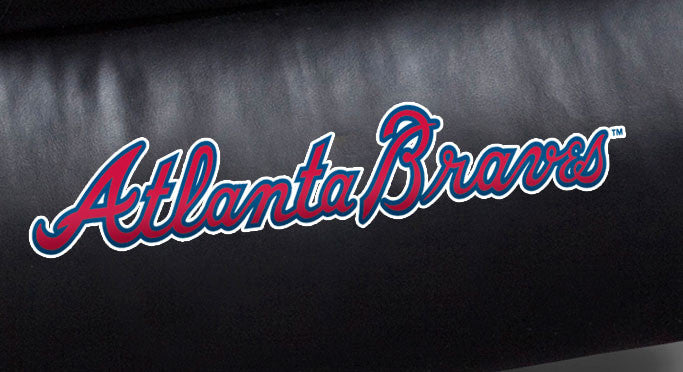 Close Up of Embroidered Logotype | Atlanta Braves Big Daddy Leather Recliner