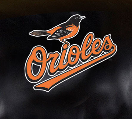 Close Up of Embroidered Logo | Baltimore Orioles Big Daddy Leather Recliner