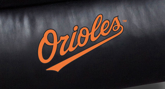 Close Up of Embroidered Logotype | Baltimore Orioles Big Daddy Leather Recliner
