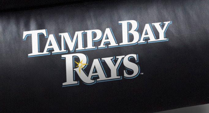 Close Up of Embroidered Logotype | Tampa Bay Devil Rays Big Daddy Leather Recliner