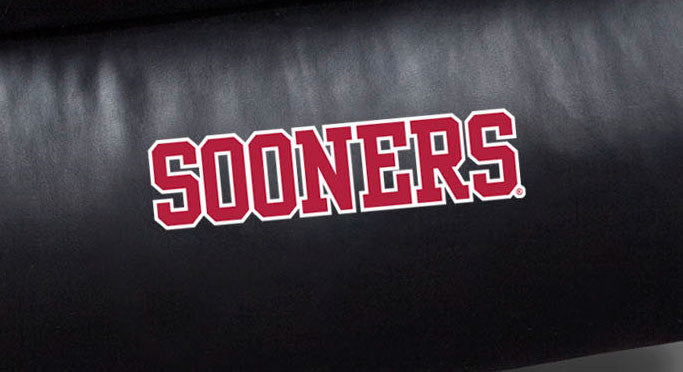 Close Up of Embroidered Logotype | University Of Oklahoma Big Daddy Leather Recliner