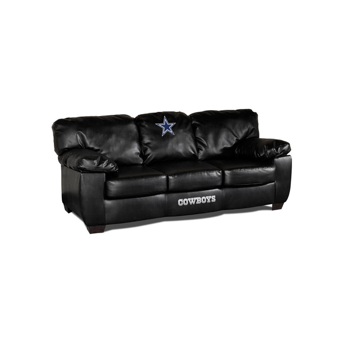 Dallas Cowboys Classic Black Leather Sofa