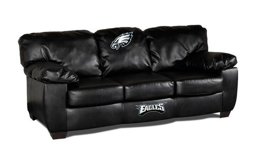 Philadelphia Eagles Classic Black Leather Sofa | Man Cave Authority | IMP 79-4014