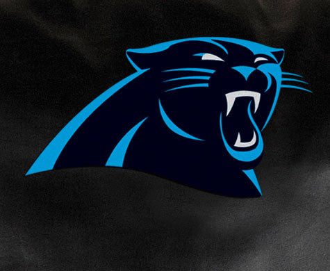 Close Up of Embroidered Logo | Carolina Panthers Classic Black Leather Sofa