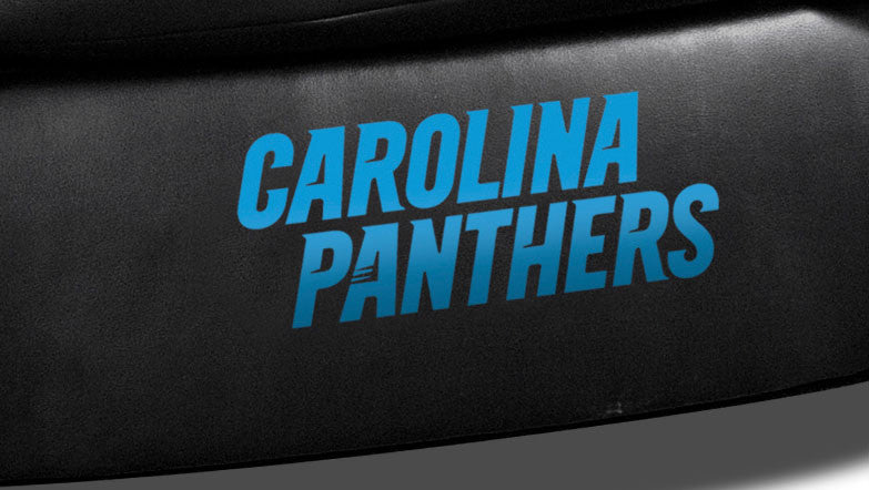 Close Up of Embroidered Logotype | Carolina Panthers Classic Black Leather Sofa