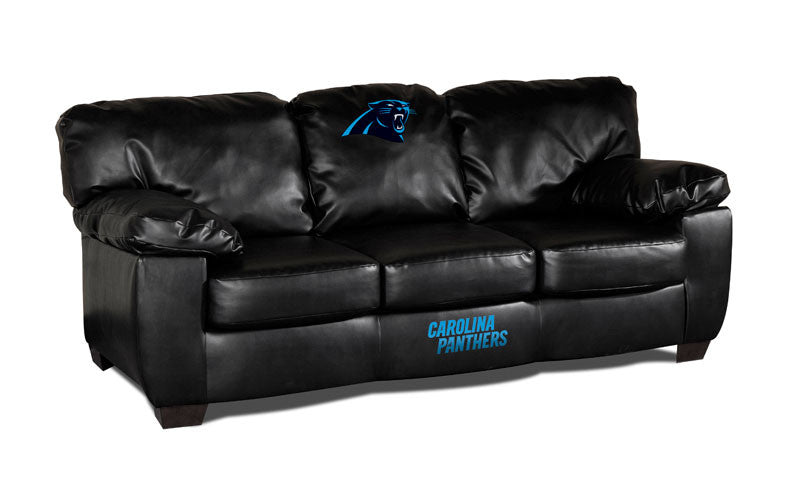 Carolina Panthers Classic Black Leather Sofa | Man Cave Authority | IMP 79-4017