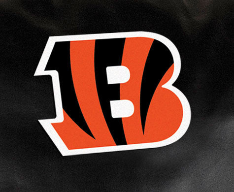 Close Up of Embroidered Logo | Cincinnati Bengals Classic Black Leather Sofa