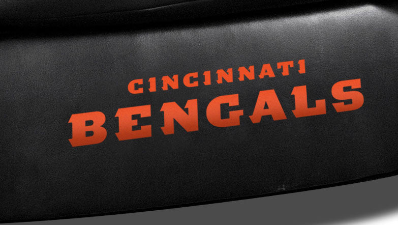 Close Up of Embroidered Logotype | Cincinnati Bengals Classic Black Leather Sofa