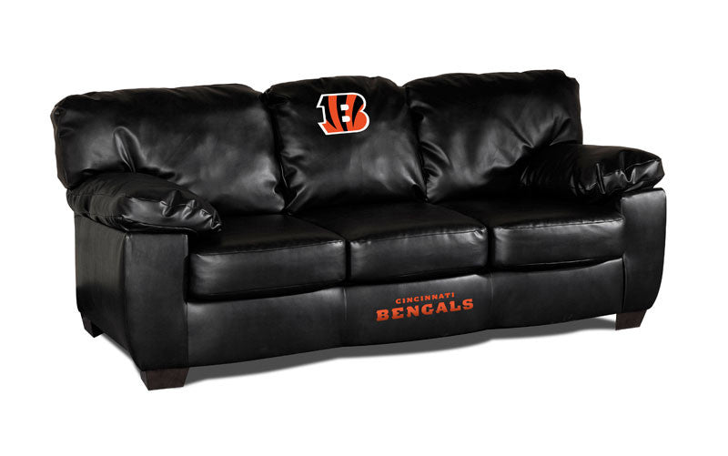 Cincinnati Bengals Classic Black Leather Sofa | Man Cave Authority | IMP 79-4023