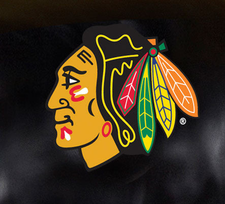 Close Up of Embroidered Logo | Chicago Blackhawks Big Daddy Leather Recliner