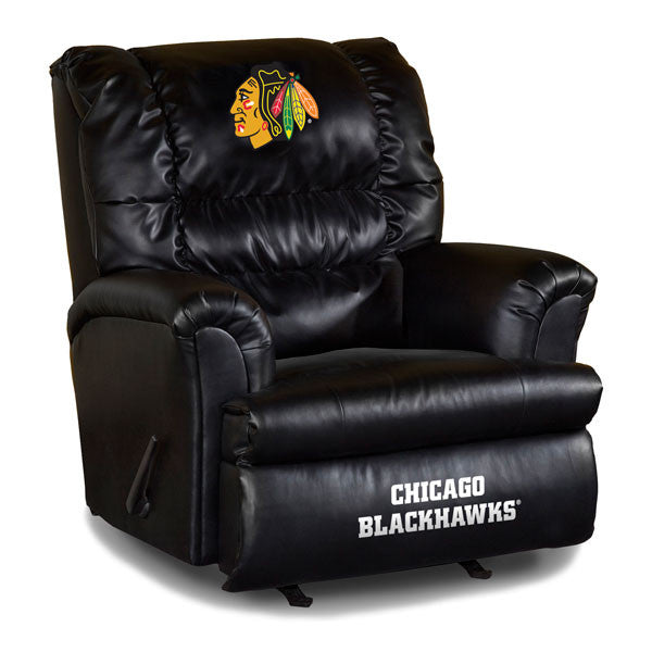 Chicago Blackhawks Big Daddy Leather Recliner | Man Cave Authority | IMP 79-4102