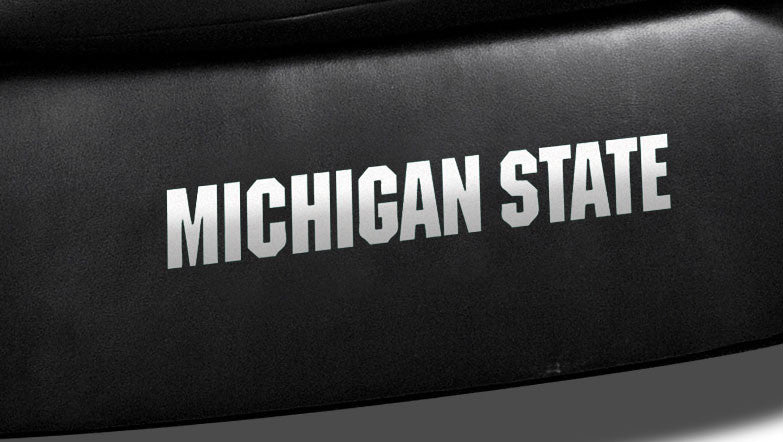Close Up of Embroidered Logotype | Michigan State Classic Black Leather Sofa