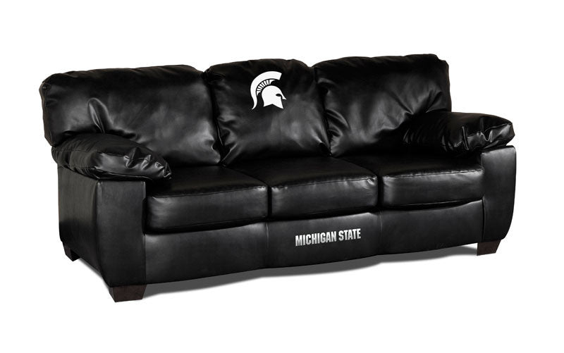 Michigan State Classic Black Leather Sofa | Man Cave Authority | IMP 79-6016