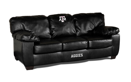 Texas A & M Classic Black Leather Sofa | Man Cave Authority | IMP 79-6021