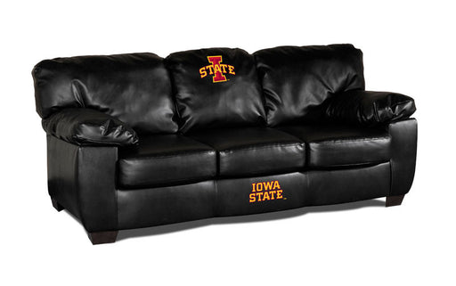 Iowa State University Classic Black Leather Sofa | Man Cave Authority | IMP 79-6024
