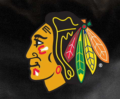 Close Up of Embroidered Logo | Chicago Blackhawks Classic Black Leather Sofa