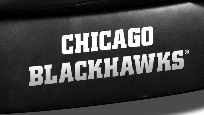 Close Up of Embroidered Logotype | Chicago Blackhawks Classic Black Leather Sofa