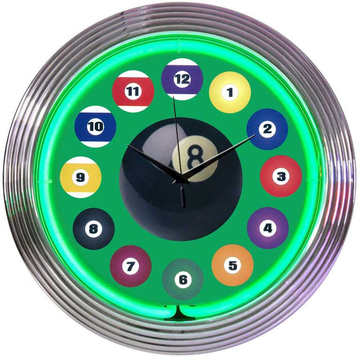 Billiard Ball Green Neon Clock | Man Cave Authority | 8BLDBG