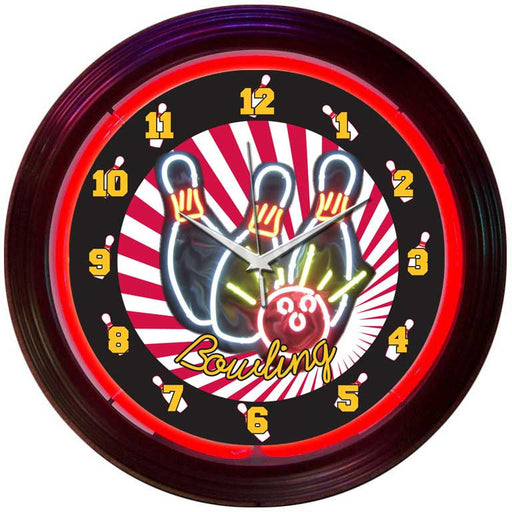 Bowling Neon Clock | Man Cave Authority | 8BOWLX