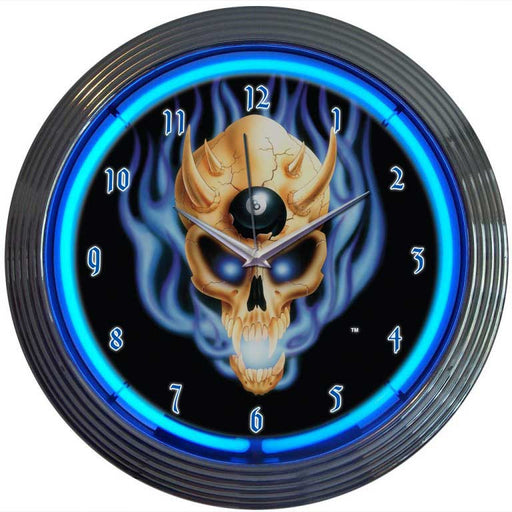 8 Ball Skull Neon Clock | Man Cave Authority | 8BSKUL
