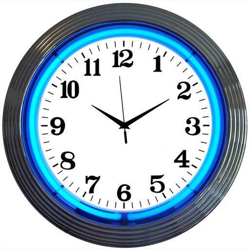 Chrome Blue Standard Neon Clock | Man Cave Authority | 8CHRCB