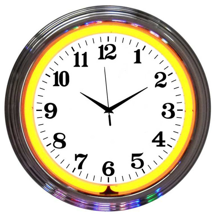Chrome Orange Standard Neon Clock | Man Cave Authority | 8CHRCO