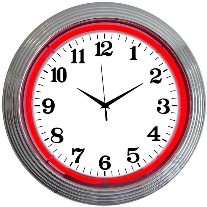 Chrome Red Standard Neon Clock | Man Cave Authority | 8CHRCR
