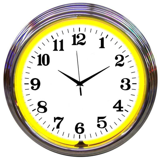 Chrome Yellow Standard Neon Clock | Man Cave Authority | 8CHRCY