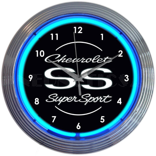 Chevrolet SS Super Sport Blue Neon Clock | Man Cave Authority | 8CHVSS