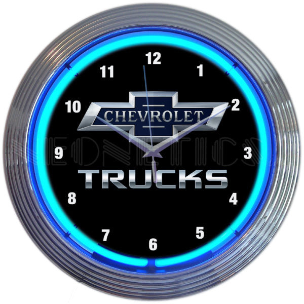 Chevy Trucks 100th Anniversary Blue Neon Clock | Man Cave Authority | 8CHVTK