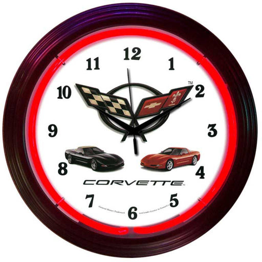 Corvette C5 Neon Clock | Man Cave Authority | 8CORVX