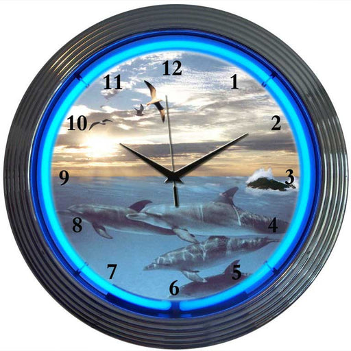 Dolphins at Sea Neon Clock | Man Cave Authority | 8DOLPH