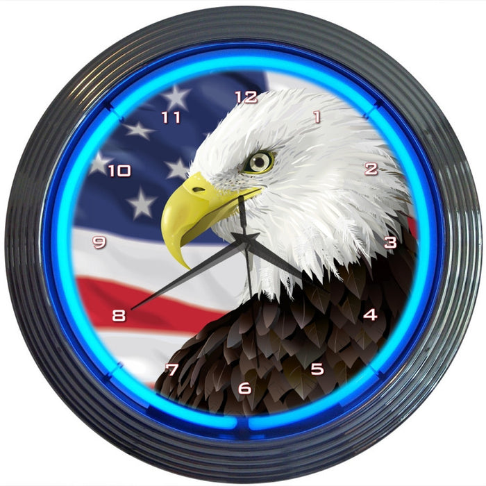 Eagle with American Flag Neon Clock | Man Cave Authority | 8EGFLG