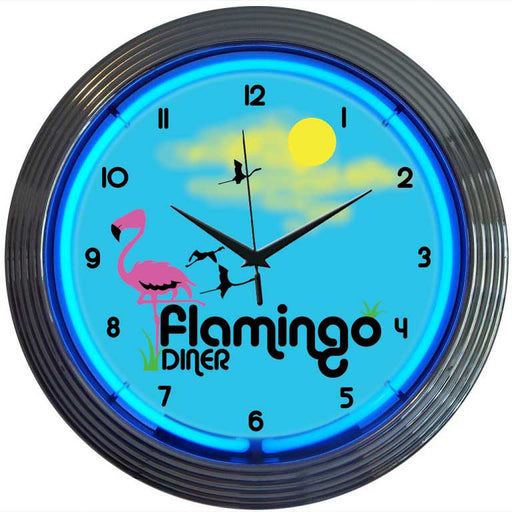 Flamingo Diner Neon Clock | Man Cave Authority | 8FLAMX