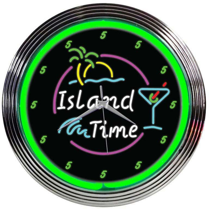 Island Time Neon Clock | Man Cave Authority | 8ITIME
