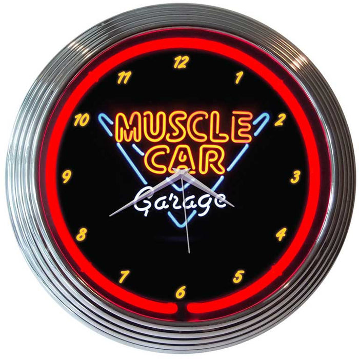 Muscle Car Garage Neon Clock | Man Cave Authority | 8MSCLE