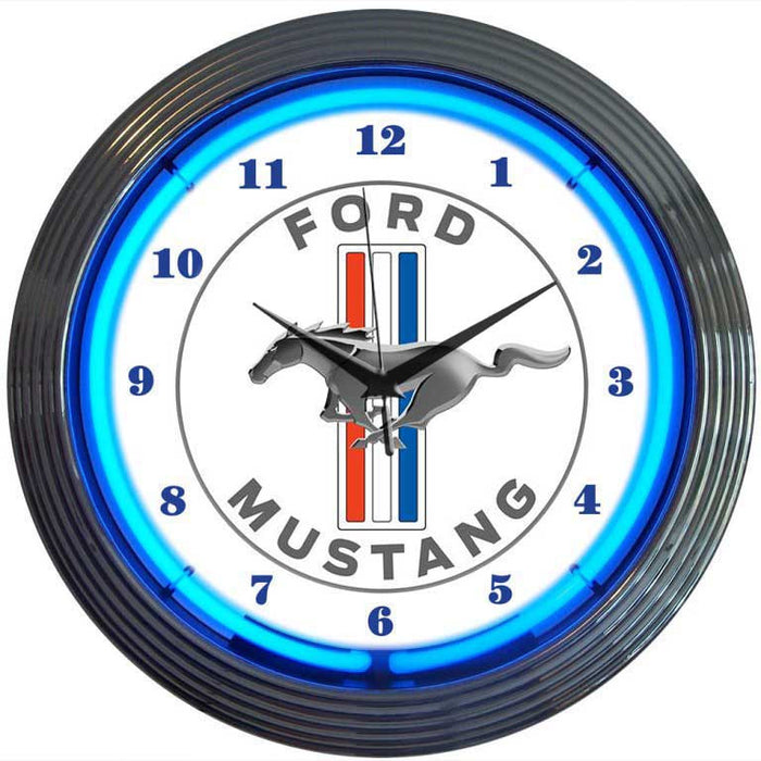 Ford Mustang Blue Neon Clock | Man Cave Authority | 8MUST1