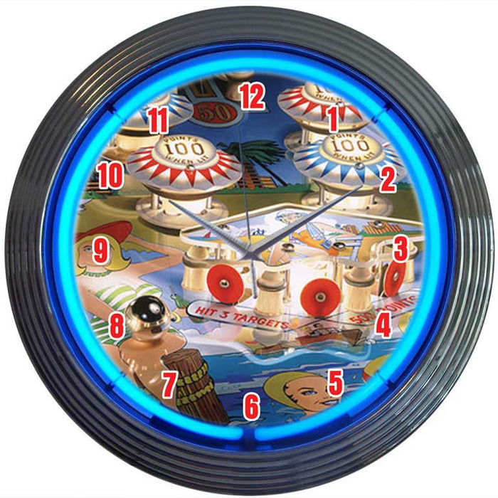 Pinball Neon Clock | Man Cave Authority | 8PINBX