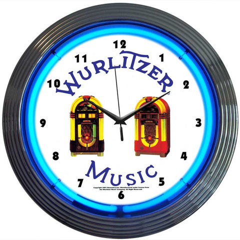 Wurlitzer Jukebox Neon Clock
