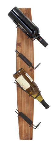 Wood and Metal Wall Wine Rack in Natural Finish