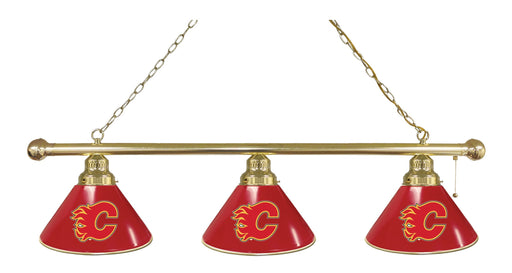 Calgary Flames 3 Shade Lamp | Man Cave Authority | BL3BRCalFla