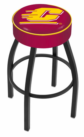 "Central Michigan University 4"" Cushioned Bar Stool with Black or Chrome Base and Swivel Seat"