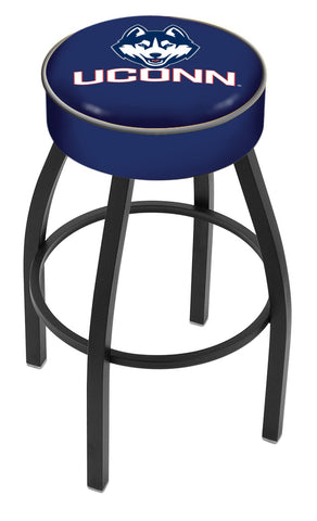 "University of Connecticut 4"" Cushioned Bar Stool with Black or Chrome Base and Swivel Seat"