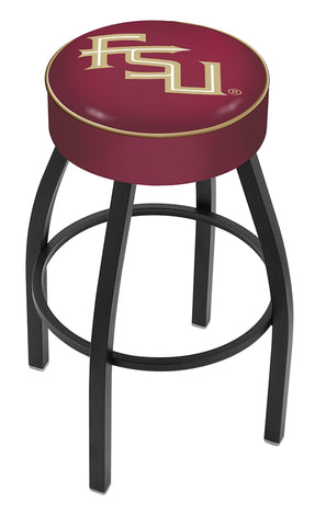 "Florida State Script 4"" Cushioned Bar Stool with Black or Chrome Base and Swivel Seat"