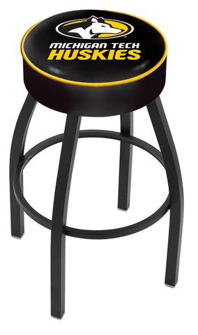 "Michigan Tech University 4"" Cushioned Bar Stool with Black or Chrome Base and Swivel Seat"