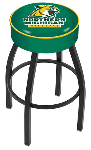 "Northern Michigan University 4"" Cushioned Bar Stool with Black or Chrome Base and Swivel Seat"