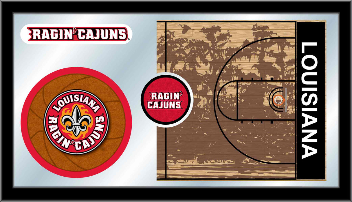 University of Louisiana at Lafayette Basketball Bar Mirror | Man Cave Authority | MBsktLA-Laf