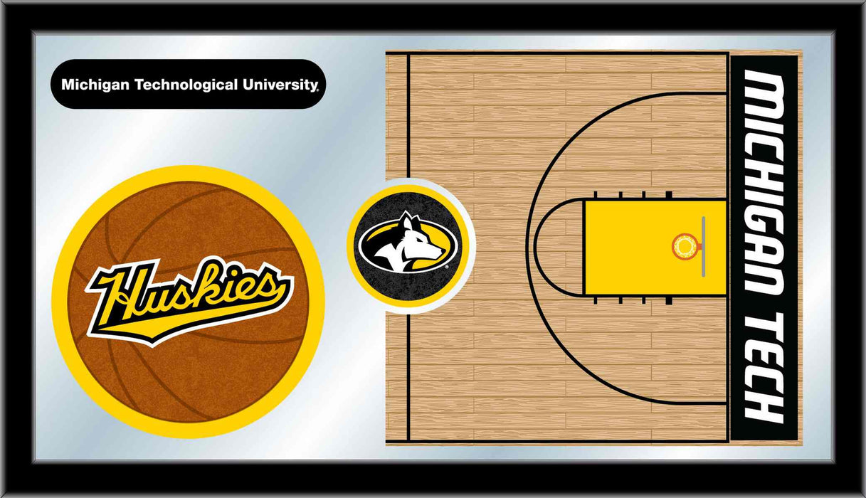 Michigan Tech University Basketball Bar Mirror | Man Cave Authority | MBsktMITech
